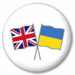 Great Britain and Ukraine Friendship Flag 25mm Pin Button Badge